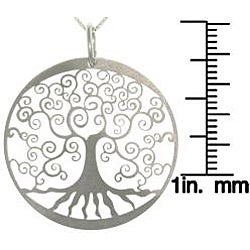 Carolina Glamour Collection Sterling Silver Laser-cut Tree of Life Charm Necklace - Thumbnail 2