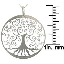Carolina Glamour Collection Sterling Silver Laser-cut Tree of Life Charm Necklace