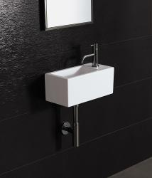 Bissonnet 'ICE-20' White Ceramic Bathroom Sink - Thumbnail 2