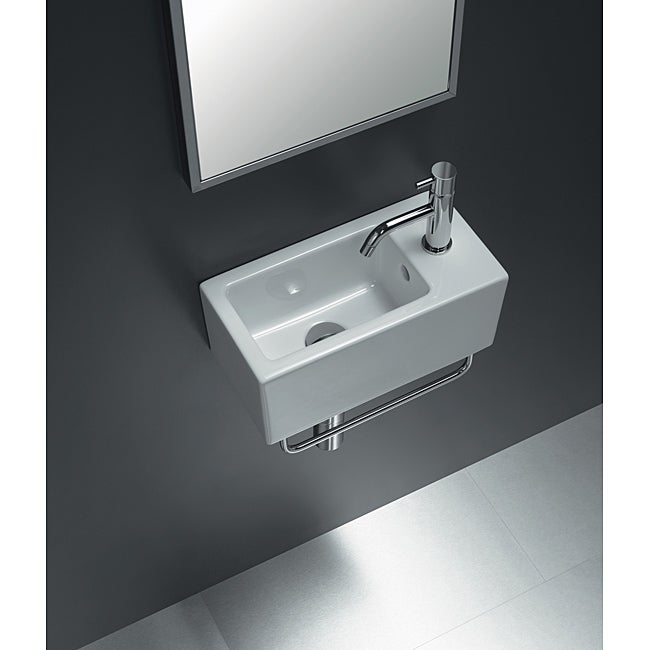 Bissonnet 'ICE-20' White Ceramic Bathroom Sink - Thumbnail 0