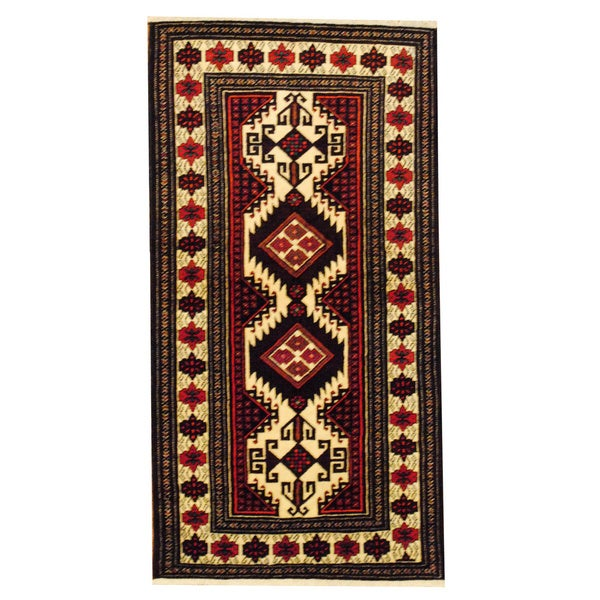 Herat Oriental Persian Hand-knotted Tribal Balouchi Wool Rug (3'5 x 6'5)