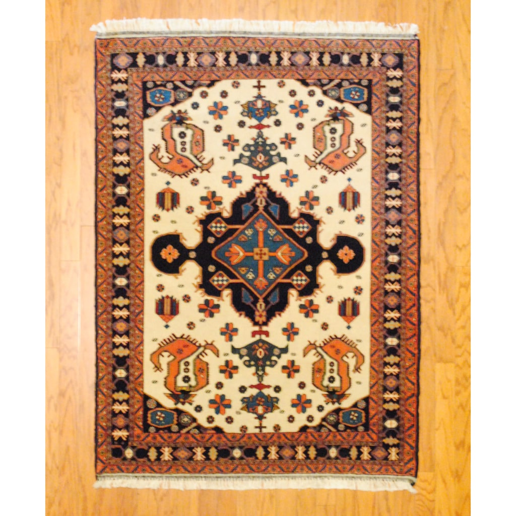Shop Persian Tribal Kurdish Ivory Navy Wool Rug 4 2 X 5