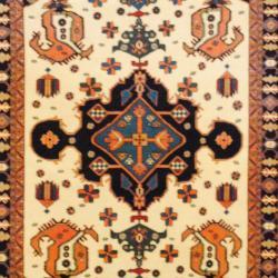 Persian Tribal Kurdish Ivory/ Navy Wool Rug (4'2 x 5'8)