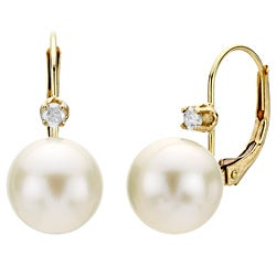 DaVonna 14k Yellow Gold 9-10mm White Freshwater High Luster Pearl and Diamond Earrings with Gift Box