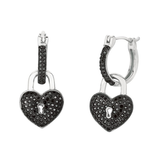 Sterling Silver Black Cubic Zirconia Key Hole Heart Earrings