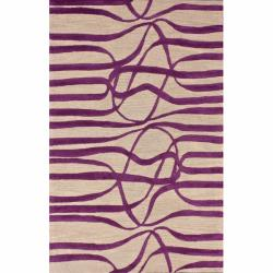 nuLOOM Handmade Curves Purple Wool/ Faux Silk Rug (7'6 x 9'6)