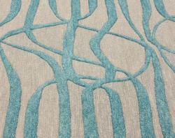 nuLOOM Handmade Curves Aqua Wool/ Faux Silk Rug (5' x 8') - Thumbnail 2