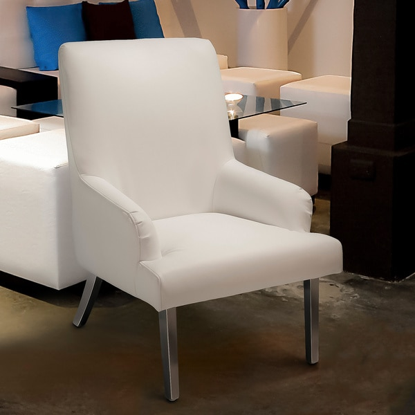 Beluga White Leather Chair by Christopher Knight Home