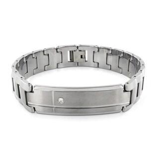 Tungsten Cubic Zirconia Grooved Bracelet