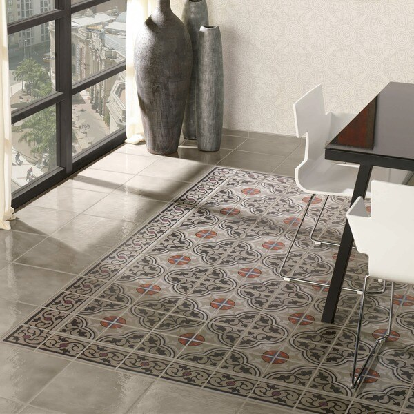 SomerTile 7x7-inch Grava Quatro and Cenefa Porcelain Floor and Wall Tile