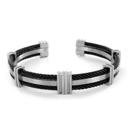 Two-tone Titanium Cable Cuff Bracelet