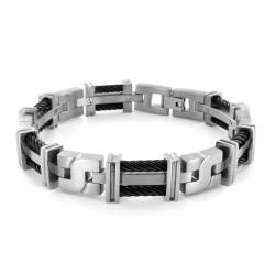 Titanium Double Cable Bracelet - White