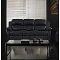 Rotunda Black Faux Leather Dual Reclining Sofa