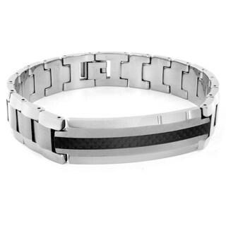 Tungsten Carbon Fiber Inlaid Bracelet
