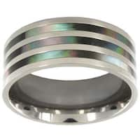 Titanium Polished Abalone Inlay Ring