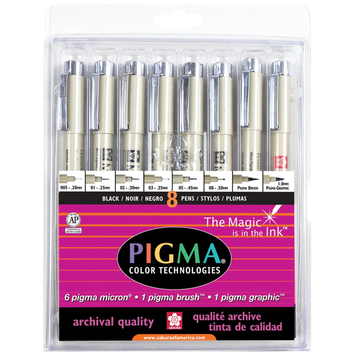 Pigma Micron All Black 8 Nibs Set