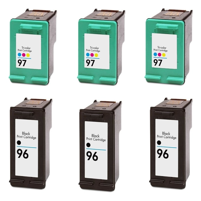 Hewlett Packard HP 96/97 Black and Color Ink Cartridge (Pack of 6) (Remanufactured)