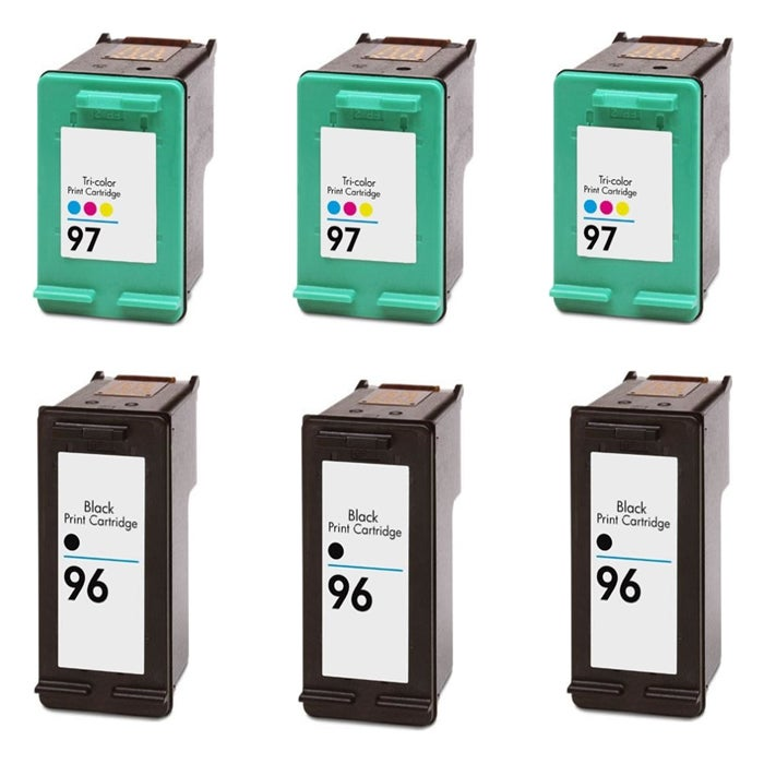 Hewlett Packard HP 96/97 Black and Color Ink Cartridge (Pack of 6) (Remanufactured) - Thumbnail 0