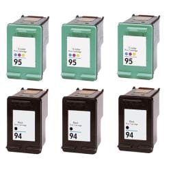 Hewlett Packard HP 94/95 Black /Color Ink Cartridge (Pack of 6) (Remanufactured) - Thumbnail 0
