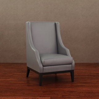 Lummi Charcoal Grey Leather High-Back Chair