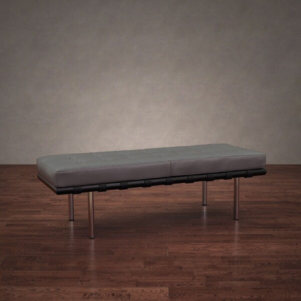 Andalucia Charcoal Leather Bench