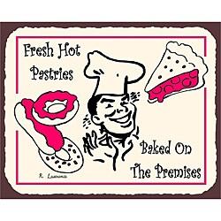 Vintage Metal Art 'Fresh Hot Pastries' Decorative Tin Kitchen Wall Sign