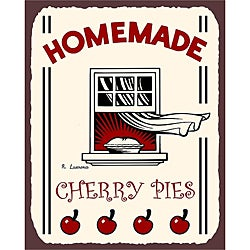 Vintage Metal Art 'Homemade Cherry Pies' Decorative Kitchen Sign
