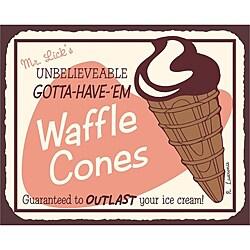 Vintage Metal Art 'Mr. Lick's Waffle Cones' Decorative Tin Kitchen Sign