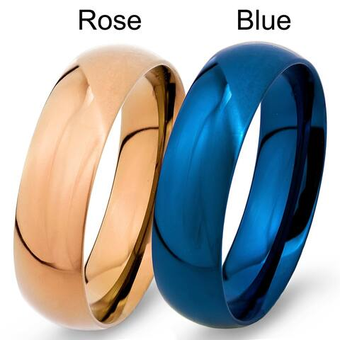 Men's High Polish Colored Stainless Steel Traditional Wedding Band - 6mm Wide