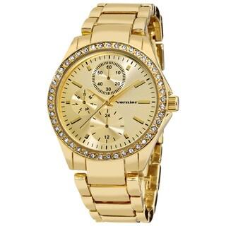 Vernier Women's Gold Tone Side Chrono Look Crystal Bezel Bracelet Watch