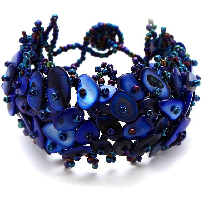 Cobalt Blue Mother of Pearl Bead Weave Bracelet