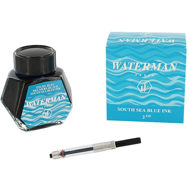 Waterman South Sea Blue 2-ounce Bottled Fountain Ink and Converter
