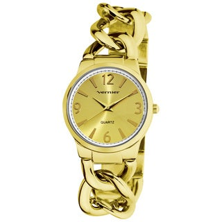 Vernier Women's Fashion Gold Tone Oversized Link Watch