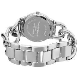 Vernier Women's Fashion Silver Tone Oversized Link Watch