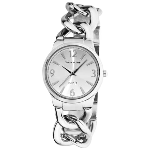 Vernier Women's Fashion Silver Tone Oversized Link Watch