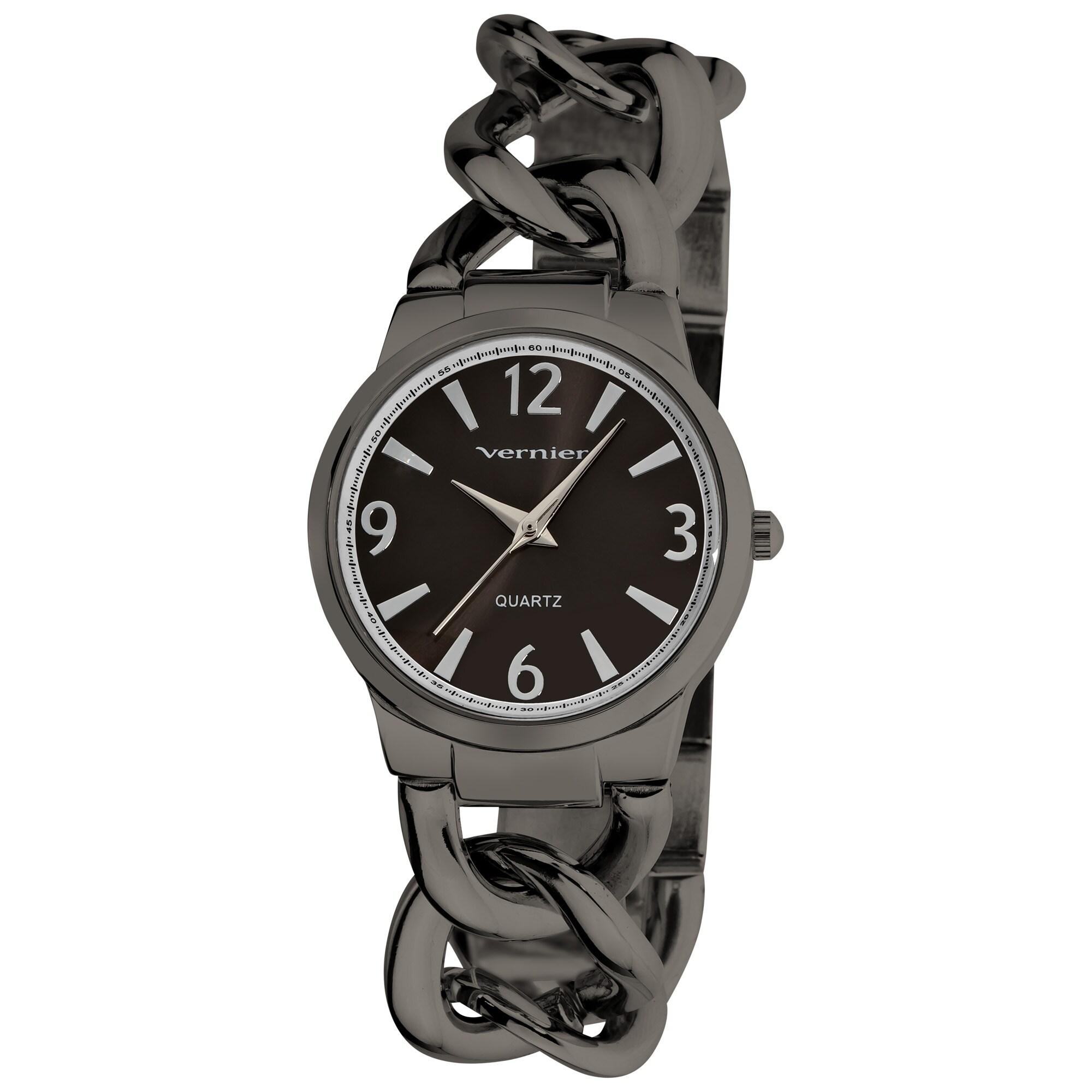Vernier Women's Fashion Gun Metal Oversized Link Watch