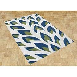 Handmade Flame Inspiration Twilight Blue Wool Rug (4' x 6')