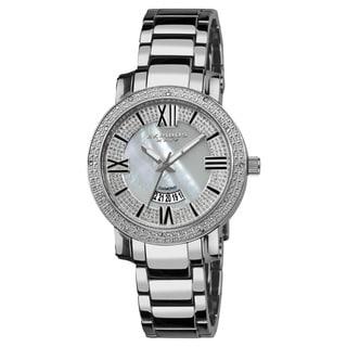 Akribos XXIV Women's Sparkling Diamond Silver-Tone Bracelet Watch