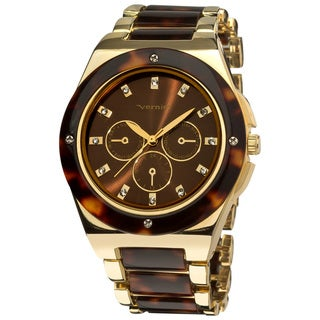 Vernier Women's Gold Tone/ Tortoise Resin Faux Chrono Bracelet Watch