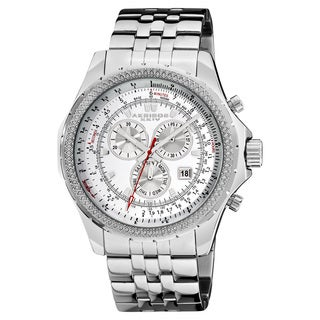 Akribos XXIV Men's Large Chronograph White Bracelet Watch