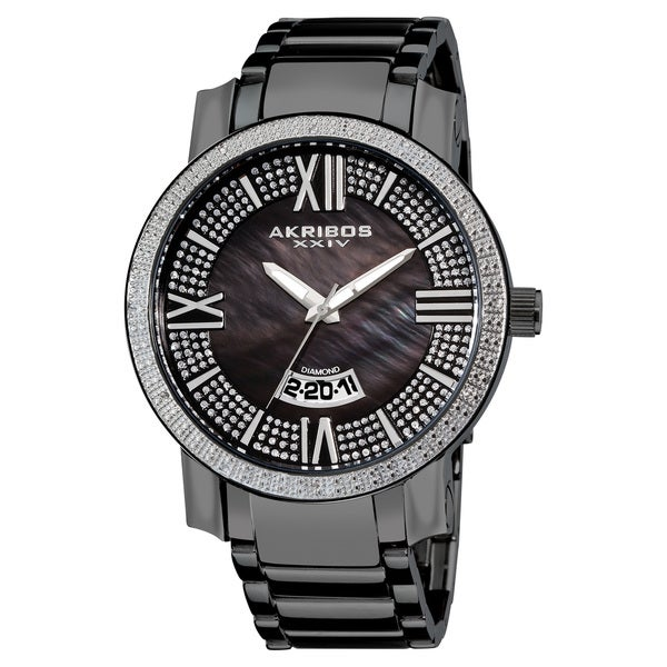 Akribos XXIV Men's Sparkling Diamond Black Bracelet Watch with FREE GIFT