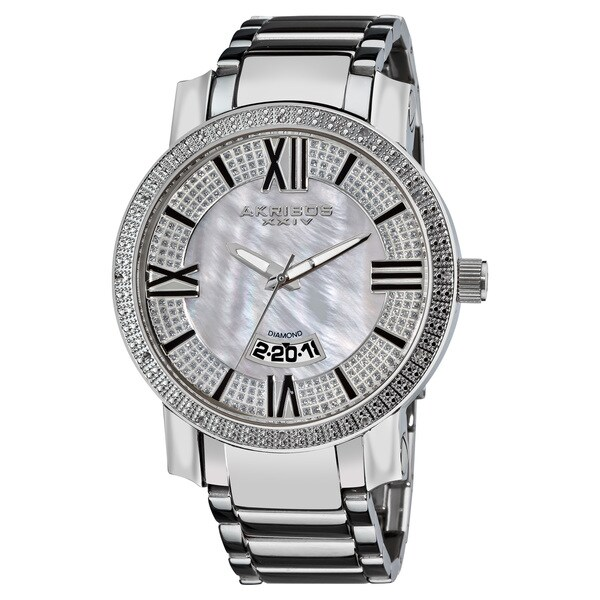 Akribos XXIV Men's Sparkling Diamond Silver-Tone Bracelet Watch with FREE GIFT