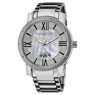 Akribos XXIV Men's Sparkling Diamond Silver-Tone Bracelet Watch
