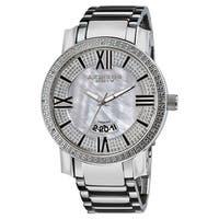 Akribos XXIV Men's Sparkling Diamond Silver-Tone Bracelet Watch