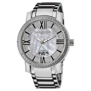 Akribos XXIV Men's Sparkling Diamond Silver-Tone Bracelet Watch with FREE GIFT
