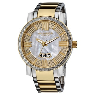 Akribos XXIV Men's Gold-Tone and Steel Sparkling Diamond Bracelet Watch with Gift Box