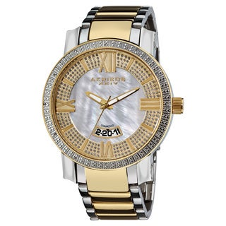 Akribos XXIV Men's Gold-Tone and Steel Sparkling Diamond Bracelet Watch