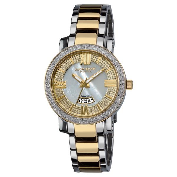 Akribos XXIV Women's Sparkling Diamond Silver-Tone Stainless Steel Bracelet Watch