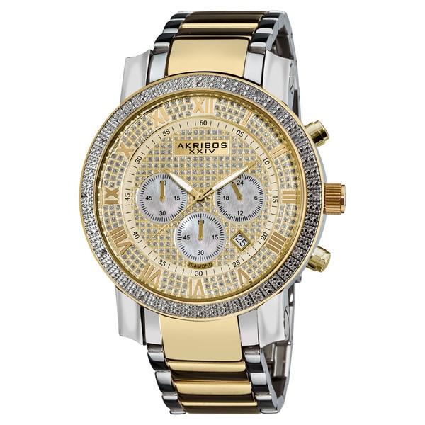 Akribos XXIV Men's Large Dial Diamond Quartz Chronograph Two-Tone Bracelet Watch with FREE GIFT - Gold