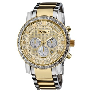 Akribos XXIV Men's Large Dial Diamond Quartz Chronograph Two-Tone Bracelet Watch with Gift Box - Gold
